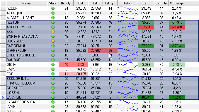 Semi Transparent Grid Selection